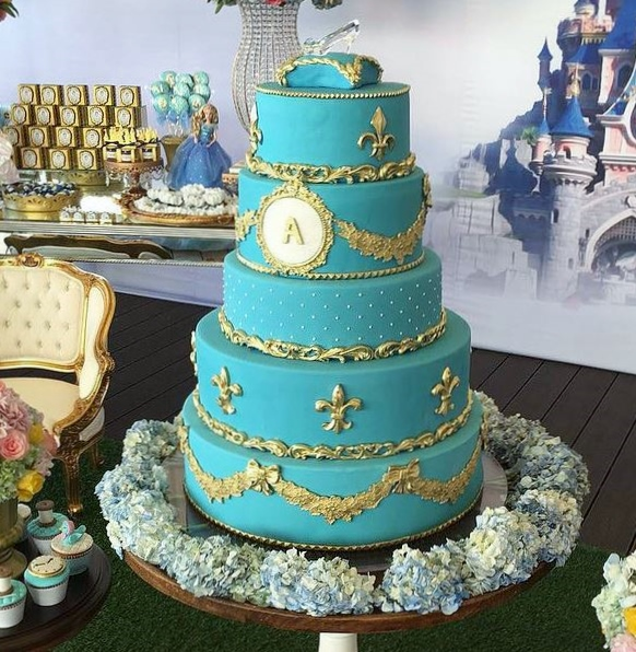 Turquoise Cinderella Theme 5 Tier Birthday Cake With Glass Slipper On TopJPG