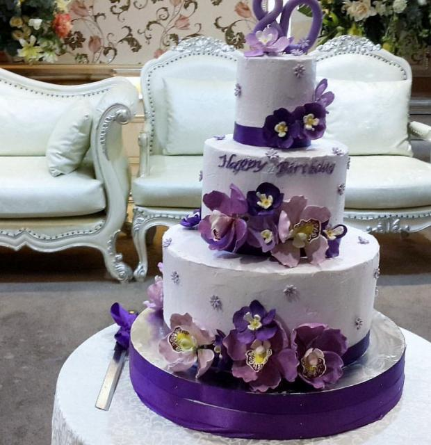 Awesome 80Th Birthday Cake In 3 Tiers With Purple Flowers Jpg Hi Res 720P Hd Funny Birthday Cards Online Elaedamsfinfo