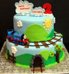 Modern kids birthday cakes picture with Thomas the train birthday cake theme.PNG
