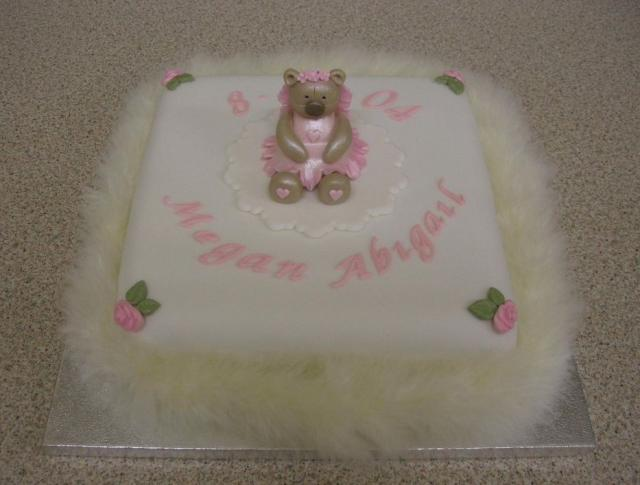 Fury Christening cake with a small cute topper