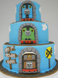 Big three tiers cakes with Thomas and friends birthday cake with tunnels.PNG
