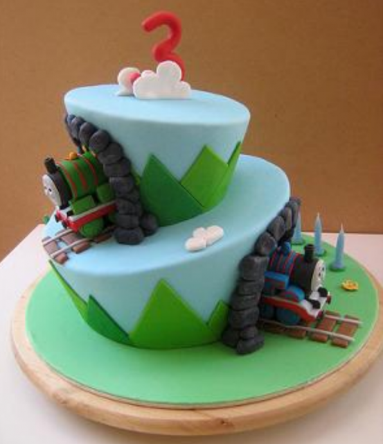 Chic two tiers Thomas and friends with tunnels PNG Cake Hi