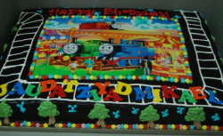 Color big Thomas and friends cake theme with Percy and Thomas.PNG