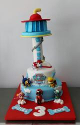 Paw Patrol Birthday Cake with Tower for 3 year-old.JPG