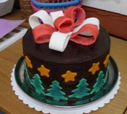 Chocolate birthday cake with white and red ribbon and green trees.JPG