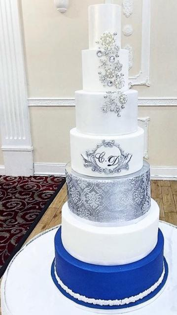 7 Tier Wedding Cake In White Silver Amp Blue With Monogram