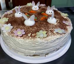 Easter Bunnies Cream Choco Cake with Floral Decor.JPG