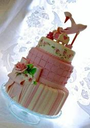 Cute Stork Baby Shower Cake in 3 Tiers with Crib & Pink Bow.JPG