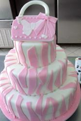 Pink Zebra Stripe 3 Tier Cake with Handbag on Top with Bow.JPG