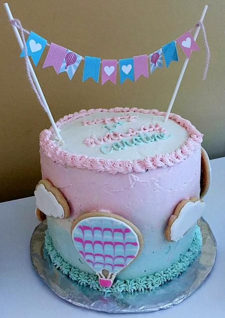 Peachy Cute Pink First Birthday Cake With Hot Air Balloon Clouds Flags Funny Birthday Cards Online Necthendildamsfinfo