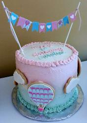 Cute Pink First Birthday Cake with Hot Air Balloon Clouds & Flags.JPG