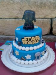 Star Wars Theme Cake with Darth Vader Topper.JPG