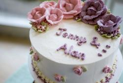 Round Engagement Cake with Pink & Lavender Floral Decor.JPG