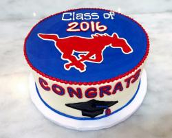 Class of 2016 Graduation Cake with Mustang Horse Emblem.JPG