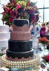 Black Wedding Cake in 4 Tiers with Tan Wedding Dress & LOVE Topper.JPG