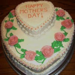 Mothers day heart shaped cake with roses cake decoration.JPG