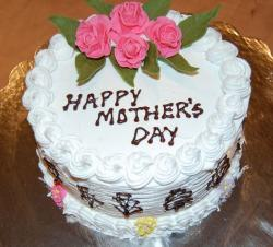 White Mother's day with Chinese writing with pretty pink roses cake decor.JPG