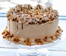Coffee cream chocolate and pecan round cake.JPG