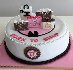 Girl's Shopping Theme 17th Birthday Cake with Coach Luis Vouitton & Victoria Secret Bags.JPG