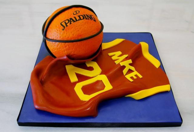 Basketball Theme Birthday Cake With Jersey Amp Spalding Ball