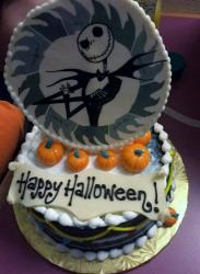 Happy Halloween Cake in Chocolate with mini-pumpkins.JPG