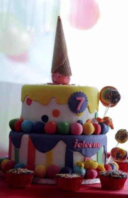 7th Birthday Cake With Ice Cream Cone Topper CupcakesJPG
