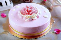 Pink Round Single Tier Mother's Day Strawberry Cream Cake.JPG