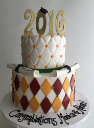 Large graduation cake with two tiers with 2016 cake topper.JPG