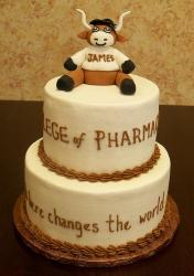Longhorn graduation cake with cute cake topper.JPG