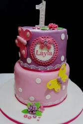 First Birthday Cake for Girl in 2 Tiers with Butterflies.JPG