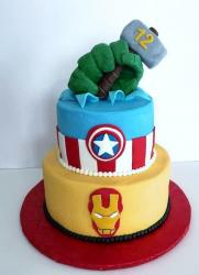 Avengers Theme Cake with Hulk Hand Thor's Hammer Captain America Shield & Ironman Mask.JPG