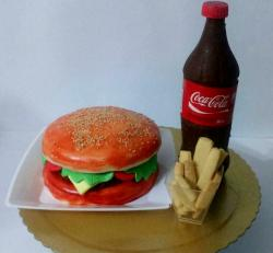 Cheeseburger Cake with Fries and Coca Cola Bottle.JPG