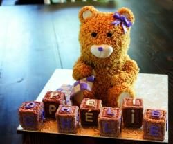 Cute Fluffy Teddy Bear Baby Shower Cake with Blankie & Toy Blocks.JPG