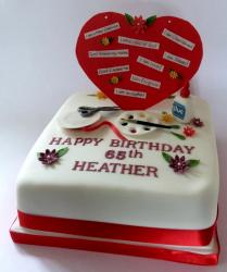 65th Birthday Cake for Woman into Arts & Crafts.JPG