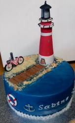 Lighthouse Cake with Pink Bike on Beach Nautical Theme Cake.JPG