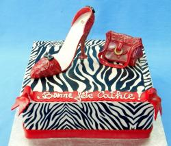 Zebra Striped Birthday Cake for Women with Red Shoe & Handbag.JPG