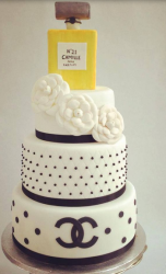 Chanel wedding cake with cake flowers decor and  Chanel perfume cake topper.PNG
