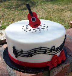 Music Theme Cake with Guitar Topper & Musical Notes.JPG