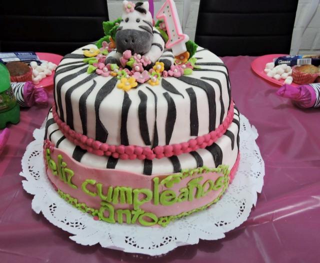 Incredible Cute Zebra First Birthday Cake For Baby Girl In 2 Tiers Jpg Hi Res Personalised Birthday Cards Veneteletsinfo