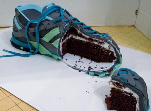 chocolate realistic looking athletic shoe cake by rdpjcakes jpg 1