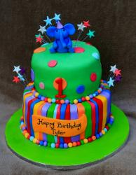 Green 2 tier First Birthday Cake with elephant on top.JPG