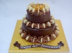 40th Anniversary Cake in Chocolate with Golden Baseboard.JPG
