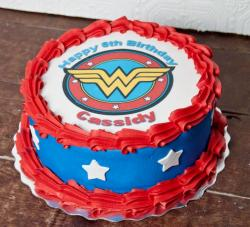 Wonder Woman Symbol Birthday Cake.JPG