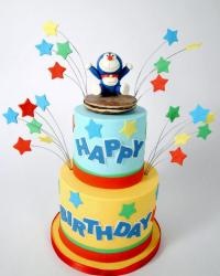 Doraemon Theme 2 tier Birthday Cake.JPG