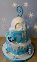 Snow & Igloo Winter Theme Birthday Cake in 3 Tiers.JPG