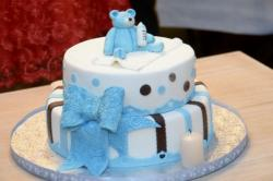 Baby Shower Cake in 2 Tiers with Blue Teddy Topper & Bow.JPG