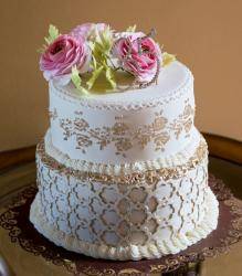 Elegant 2 Tier Mother's Day Cake with Gold Trim & Pink Roses on Top.JPG