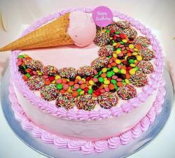 Ice Cream Birthday Cake with Cone plus M&M Candies.JPG