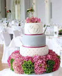 3 Tier Wedding Cake with Floral Base & Mr Mrs Topper.JPG