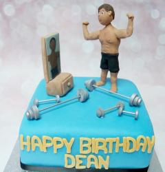 Workout Weight-Lifting Body-Building Theme Birthday Cake.JPG